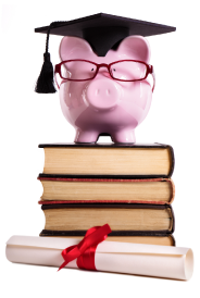 Financial education, piggy bank on books